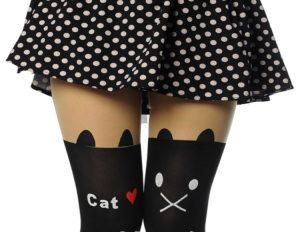 siyah sevimli dövmeli çorap