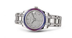 Beyaz Altın Kayış ve Elmas Kaplamalı Rolex Saat
