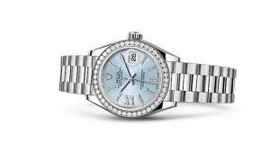 Platin Askı ve Buz Mavisi Rolex Saat